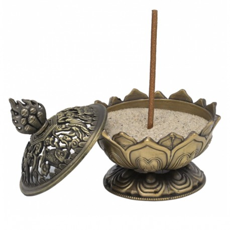 Bruciaincenso Loto color bronzo