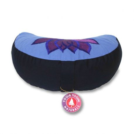 Cuscino meditazione mezzaluna loto azzurro/viola