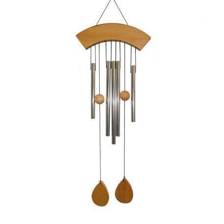 Campana a vento a 5 canne e legno naturale