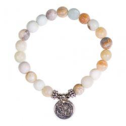 Braccialetto elastico perle in Amazzonite com Om