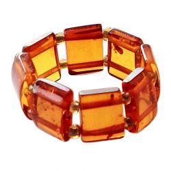 Anello in Ambra perle rettangolari cognac