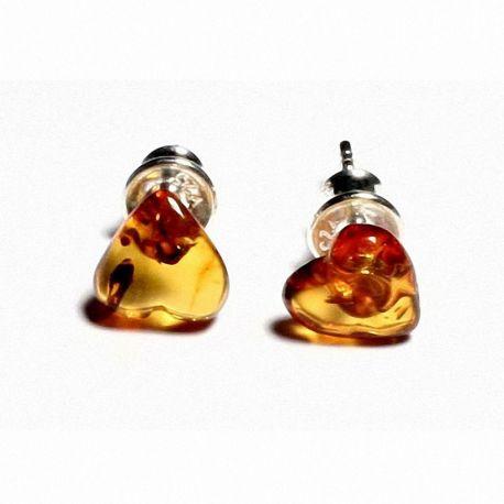 Orecchini a perno in argento con ambra baltica color miele