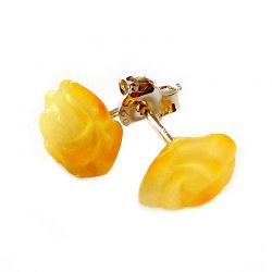 Orecchini a perno in argento con ambra baltica color ciliegia