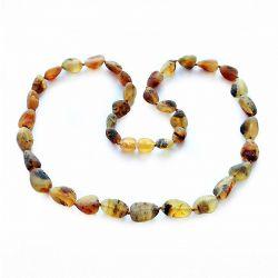 Collana in ambra baltica perle oliva grezze verdi