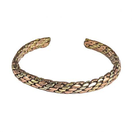 Bracciale del benessere da donna ritorto a tre metalli - rame, ottone, argento