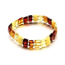 Braccialetto elastico in Ambra Baltica con perle rettangolari multicolore