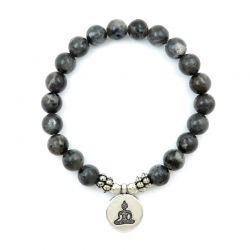 Braccialetto elastico da donna in labradorite con Buddha
