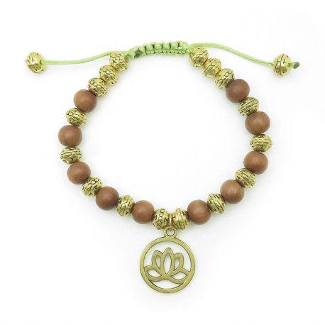 Braccialetto con perle di sandalo, charm fiore di loto, finitura oro antico