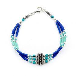 Braccialetto da uomo a tre fili con perline colorate blu e verdi