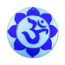 OM dipinto a mano su vetro goffrato - blu