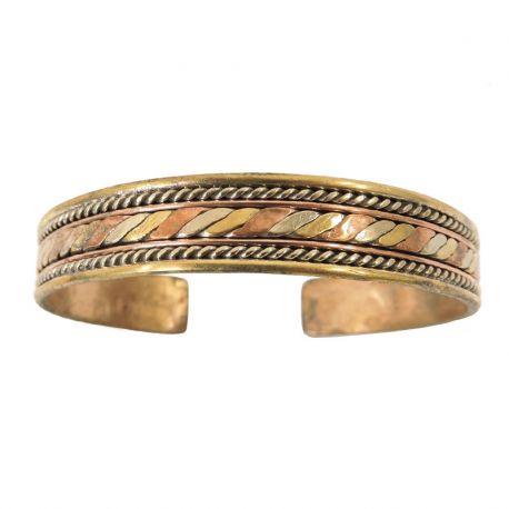 Bracciale del benessere intrecciato a tre metalli - rame, ottone, argento