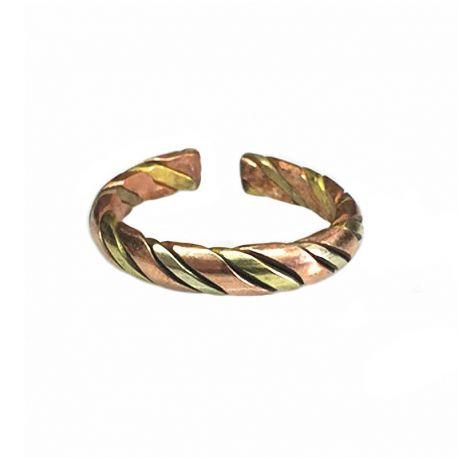 Anello a tre metalli unisex singolo, rame, ottone, metallo bianco