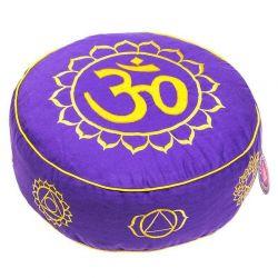Cuscino meditazione tondo loto viola con simboli dei Chakra e OM